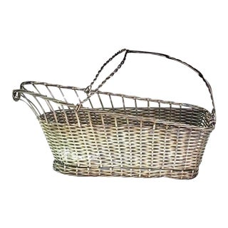 Vintage Woven Wire Silver Plate Wine Bottle Holder Caddy For Sale