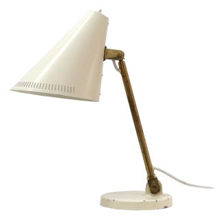 Cream and Brass Desk Lamp by Paavo Tynell for Taito from 1950 For Sale