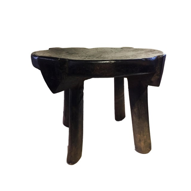 """1960s African Old Carved Wood Milk Stool Hehe Gogo People Tanzania 10.25"""" H For Sale - Image 5 of 12"""