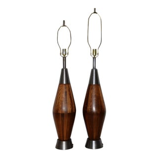 1960s Mid-Century Modern Walnut Lamps - a Pair For Sale