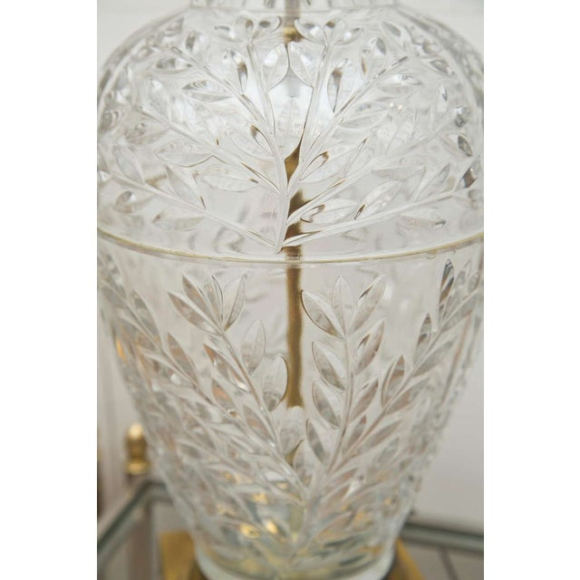 Mid-Century Glass & Brass Ginger Jar Lamps - Pair - Image 6 of 6