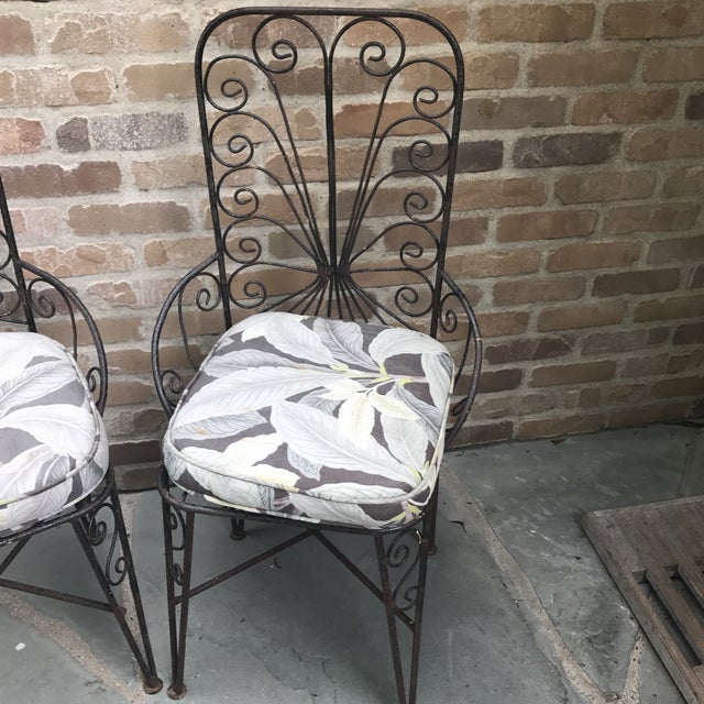 Vintage Petite Iron Chairs - A Pair - Image 3 of 6