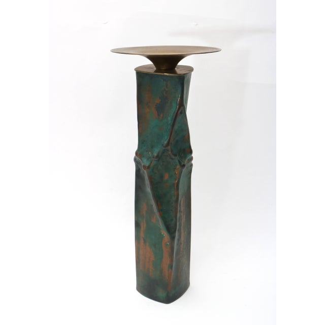Brutalist Oxodized Copper and Brass Candleholders - Set of 3 For Sale In West Palm - Image 6 of 11