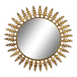 Huge Metal Round Leafed Spanish Mirror For Sale