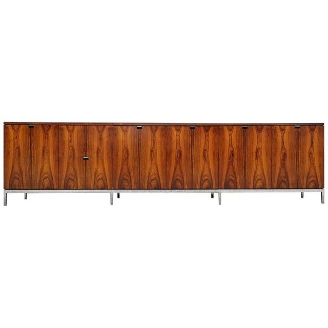 Custom Bookmatched Brazilian Rosewood Florence Knoll Media Cabinet For Sale - Image 13 of 13