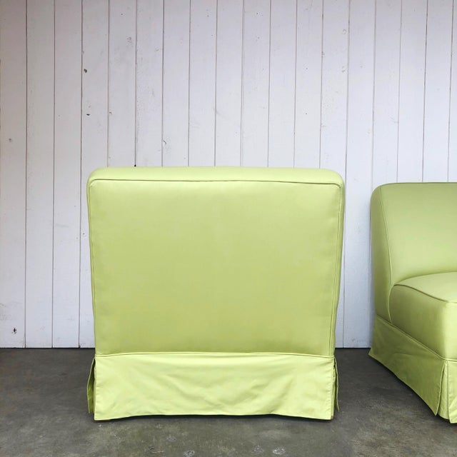 Vintage Custom Made Skirted Lounge Chairs in New Chartreuse Fabric - a Pair For Sale - Image 9 of 11