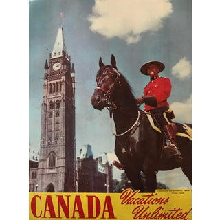 1950's Canadian Travel Poster, Vacations Unlimited, Mounted Policeman For Sale