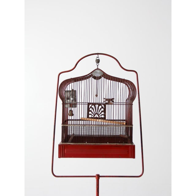 Antique Crown Bird Cage With Stand For Sale - Image 6 of 10
