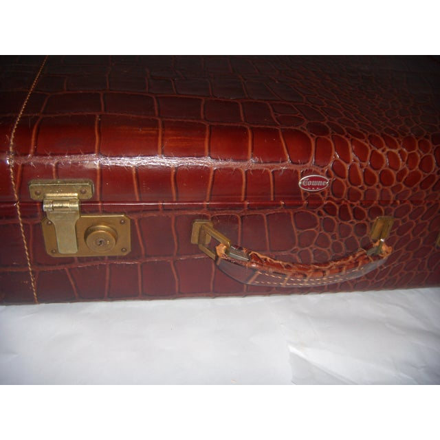 Vintage Towne Faux Alligator Leather Suitcase - Image 3 of 7