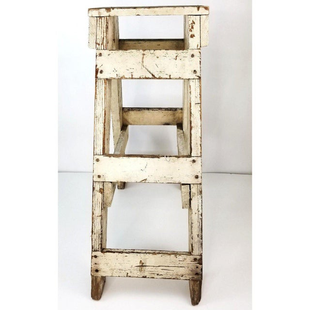 This gorgeous primitive farmhouse wood stool will make a perfect plant stand, centerpiece in your decor or a handy stool!...