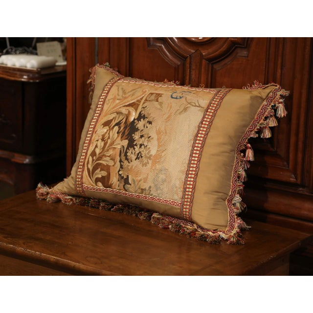 Decorate a bed or living room couch with this custom, silk, velvet and antique tapestry pillow. The rectangular, plush...