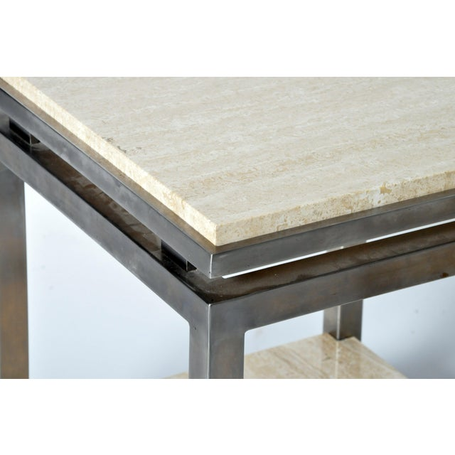 Pair of Two-Tier Travertine Side Tables in the Style of Guy Lefevre For Maison Jansen For Sale In Chicago - Image 6 of 11