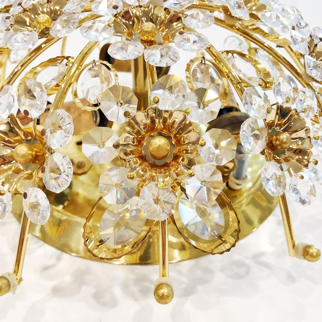 1970s Cut Crystal Gilt Brass Flush Mount Ceiling Fixtures by Palwa - a Pair For Sale In West Palm - Image 6 of 11