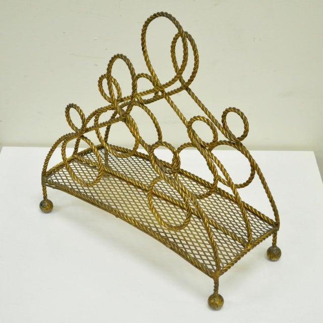 Hollywood Regency Vintage Italian Hollywood Regency Gold Gilt Iron Rope Tole Magazine Holder For Sale - Image 3 of 11