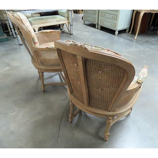 Wood Louis XVI Style Bergeres - a Pair For Sale - Image 7 of 8