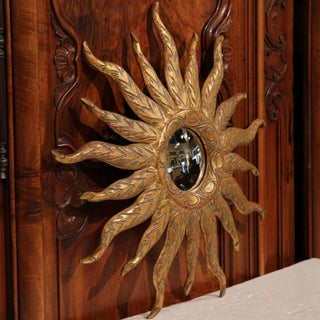 Mid-Century French Sunburst Mirror With Gilt Finish and Motifs Preview