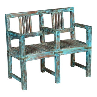 Modern Wide Cute Teakwood Two Seater Bench in Rustic Blue Color For Sale
