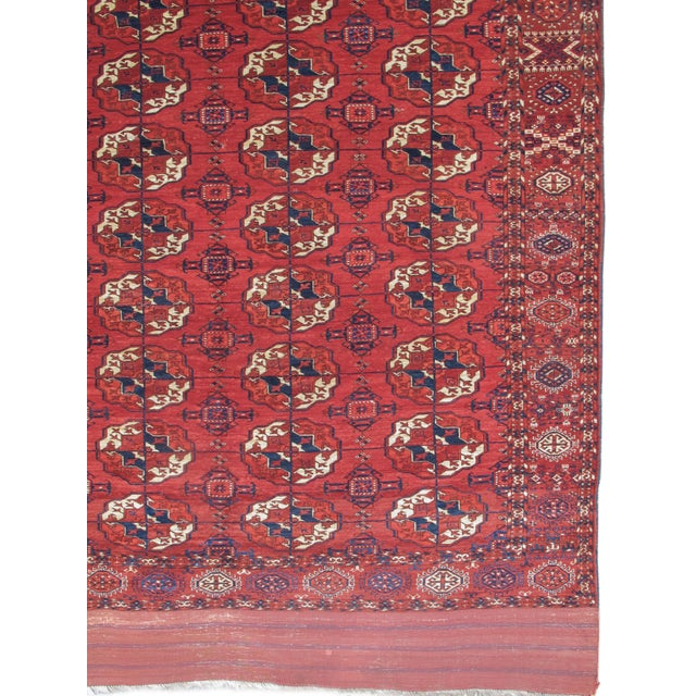 This classic Tekke Turkmen main carpet was most probably woven in the Akhal region of central Turkmenistan in the second...