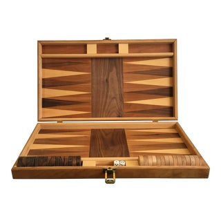 Inlaid Wood Backgammon Board