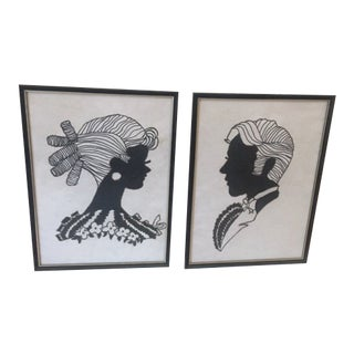 1970s Vintage Graphic Silhouette Drawings - A Pair For Sale