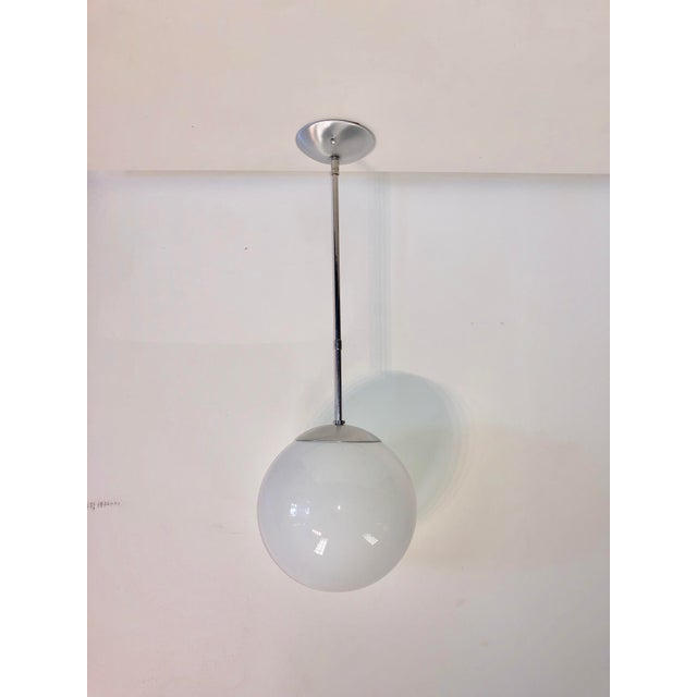 Mid-Century Chrome Oversized Globe Pendant For Sale - Image 4 of 8