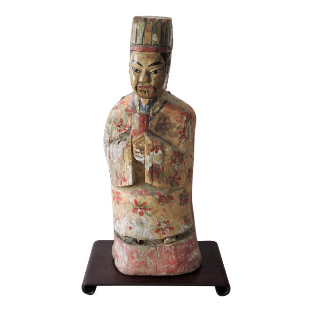Large Antique Chinese Polychrome Scholar Figure, Carved Wood For Sale