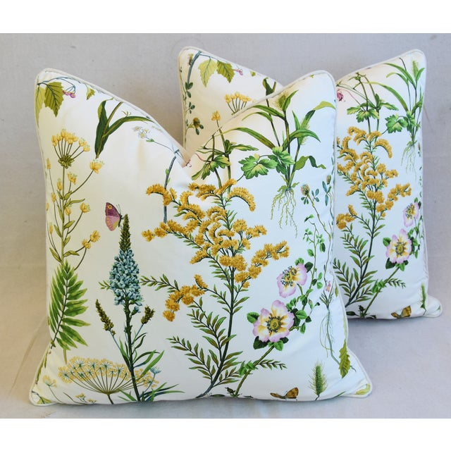 "Cotton Wildflower Botanical Cotton & Linen Feather/Down Pillows 24"" Square - Pair For Sale - Image 7 of 13"