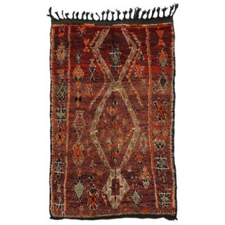 """Vintage Berber Moroccan Tribal Style Rug - 5'4"""" X 08' For Sale"""