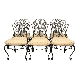 Mid Century French Wrought Iron Chairs- Set of 6 After Jean- Charles Moreux For Sale