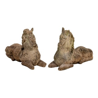 20th C. Cast Stone Horses - A Pair For Sale