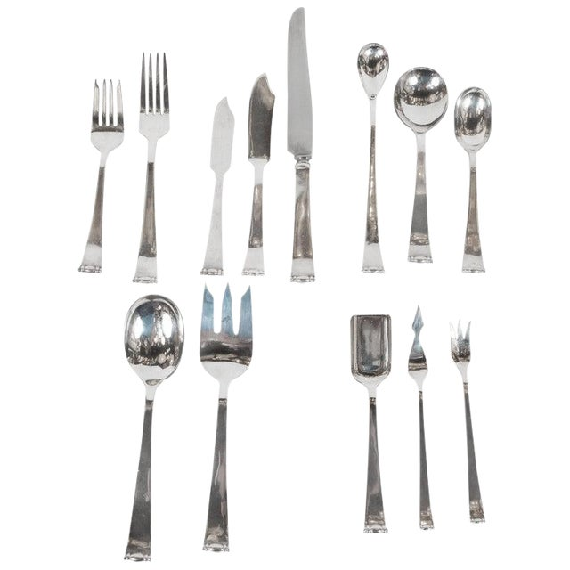 Allan Adler Sterling Sliver Modern Georgian Hand Wrought Flatware Service for 24 For Sale
