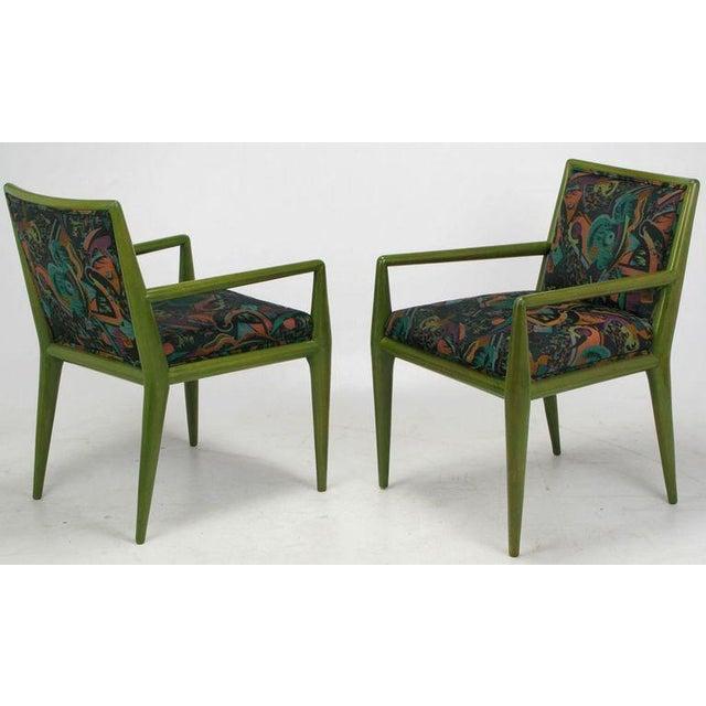 T.H. Robsjohn-Gibbings Four T.H. Robsjohn-Gibbings Moss Green Walnut Arm Chairs For Sale - Image 4 of 10