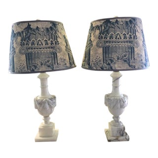 Mary Jane McCarty Collection Alabaster Table Lamps With Handmade Blue Shades - a Pair For Sale