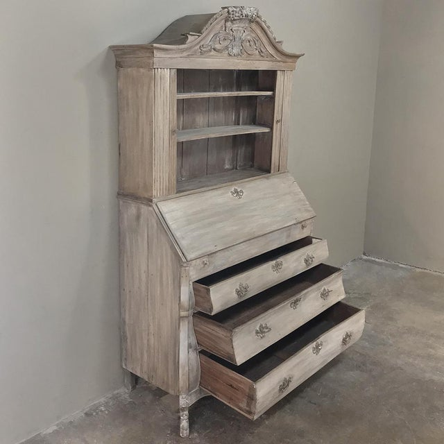 Late 18th Century 18th Century Dutch Tambour Stripped Oak Secretary ~ Bookcase For Sale - Image 5 of 13