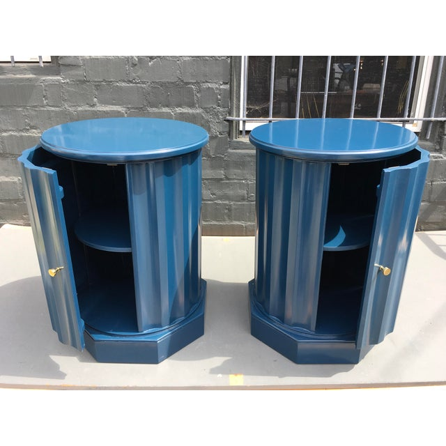 Metal 1950s Art Deco Dark Blue Lacquered Column Shaped Drum Tables - a Pair For Sale - Image 7 of 12
