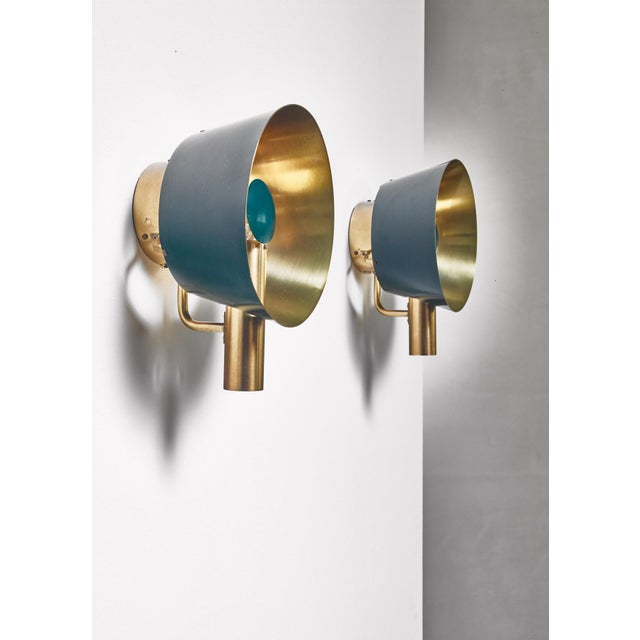 1960s Pair of Brass Lyfa Wall Lamps, Denmark, 1960s For Sale - Image 5 of 5