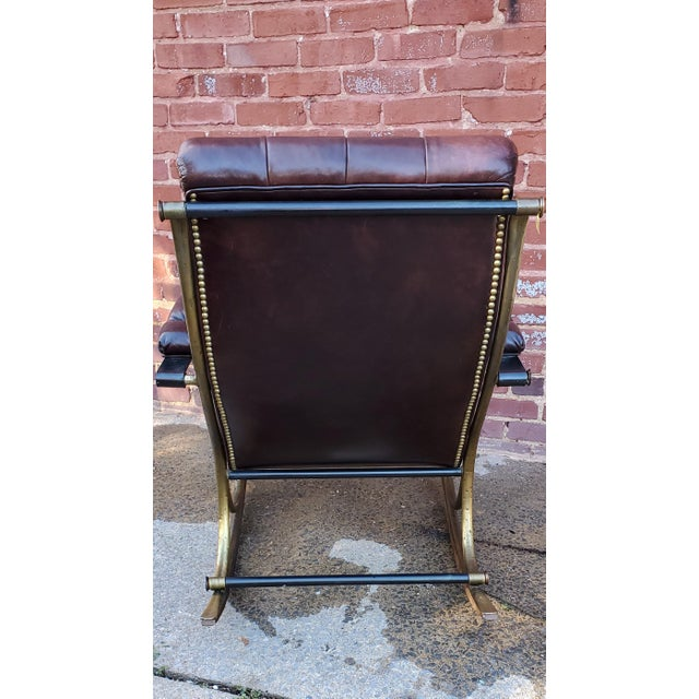 Mid-Century Modern Mid Century Tufted Leather Rocking Chair For Sale - Image 3 of 7