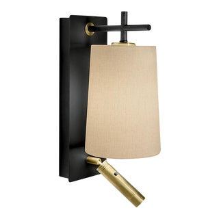 Satin Black and Brushed Brass Wall Light With Shade and Reading Light For Sale