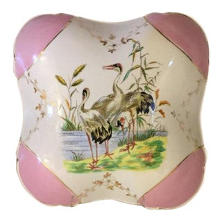 Antique Porcelain Handpainted Serving Bowl, Featuring Cranes