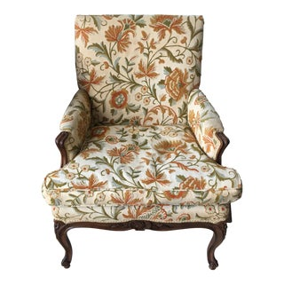 French Floral Upholstered Chair For Sale