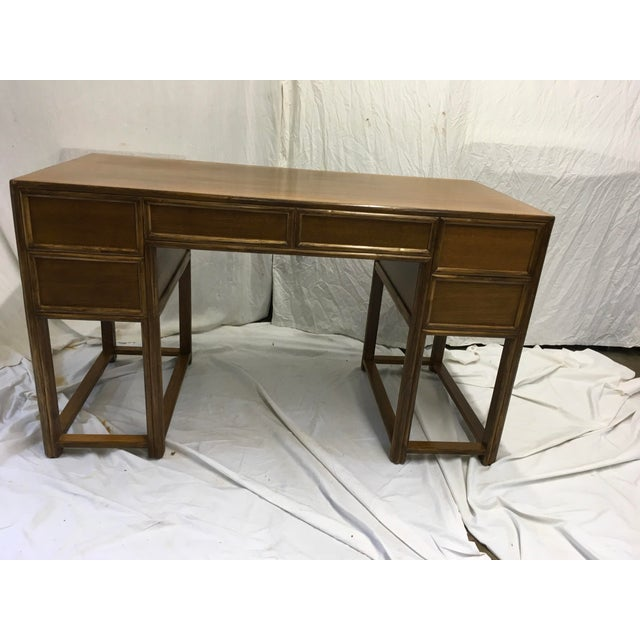McGuire Oak and Rattan Desk For Sale - Image 9 of 10