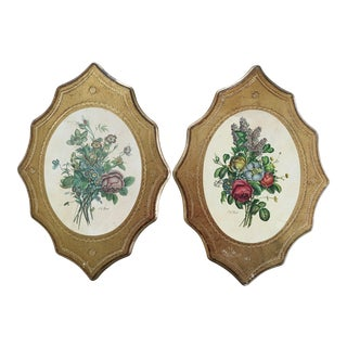 1960s Florentine Italian Floral Oversized Gilded Wall Plaques - a Pair For Sale