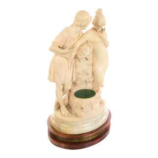 19th Century Beautiful Italian Alabaster Sculpture of Two Lovers For Sale