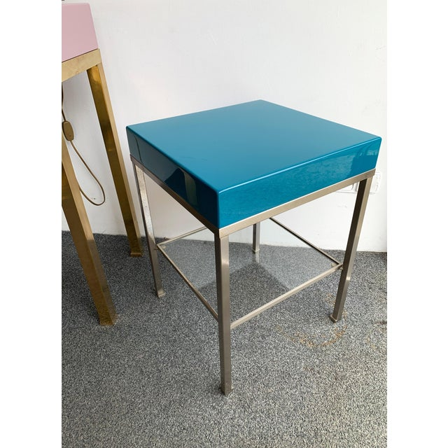 Pair of Lacquered Side Tables by Guy Lefevre for Maison Jansen. France, 1970s For Sale - Image 9 of 13