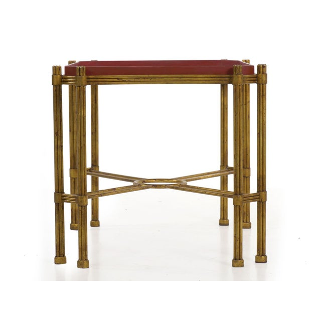Traditional Vintage Gilt Iron Cocktail Table With Red-Painted Wooden Tray, 20th Century For Sale - Image 3 of 13
