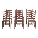Image of Set of 6 Henkel Harris Rush Seat Cherry Ladderback Dining Chairs For Sale