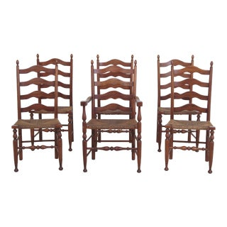 Set of 6 Henkel Harris Rush Seat Cherry Ladderback Dining Chairs For Sale