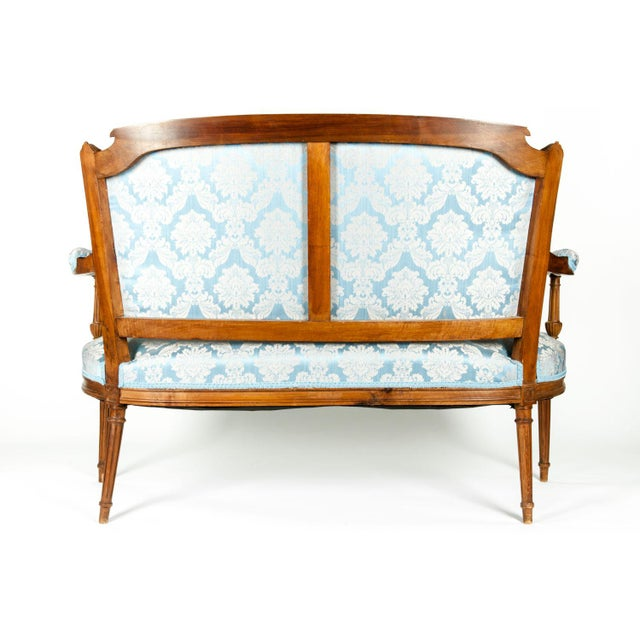 Textile Antique French Settee With Chairs Seating Set - 3 Pc. Set For Sale - Image 7 of 13