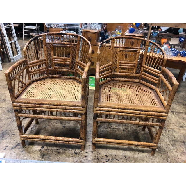 Vintage Brighton Pavilion Style Bamboo Rattan Chairs- A Pair For Sale - Image 11 of 11