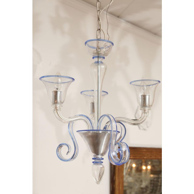 Murano Three-Arm Clear Glass Murano Chandelier For Sale - Image 4 of 9